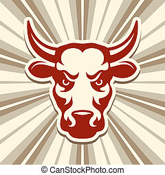 Label with a Bull - Label with a bull, vector illustration