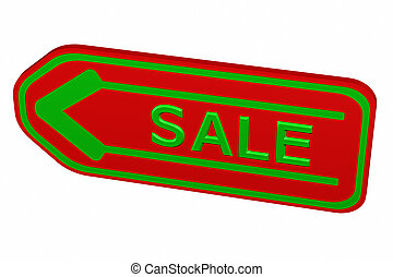Label with arrow with word sale. 3D rendering.