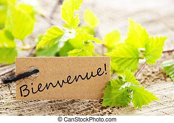 label with bienvenue