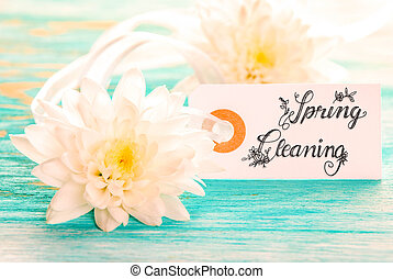 Label With Calligraphy Spring Cleaning, White Blossom