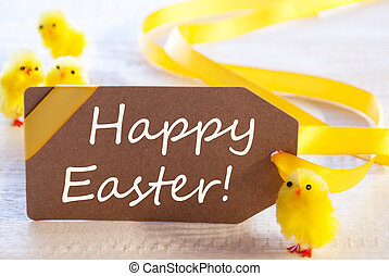 Label With Chicks, Text Happy Easter