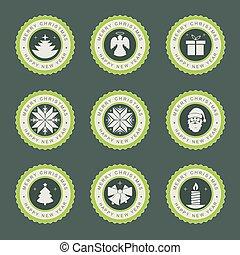 label with christmas symbols, set