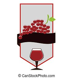 label with cup wine with grapes