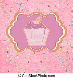 Label with cupcake on pink with polka dots. EPS 8
