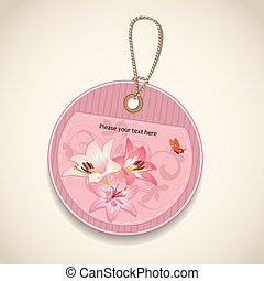 Label with flower design