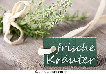 label with frische Kr?uter on it - a green label with the...