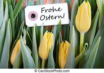 Label with Frohe Ostern