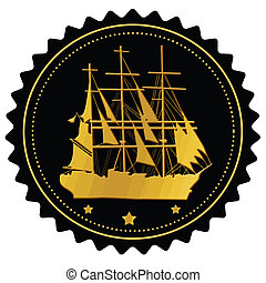 Label with gold sailing ship on white background, vector...
