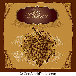 Label with grape - Vintage label with grape