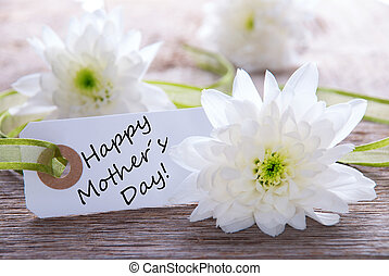 Label with Happy Mothers Day - White Label with Happy...