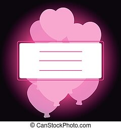 Label with hearts on pink- black background