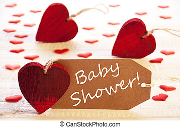 Label With Many Red Heart, Text Baby Shower