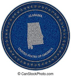 Label with map of alabama. Denim style.