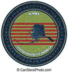 Label with map of alaska. Denim style. Vector eps10