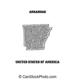 Label with map of arkansas.