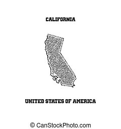 Label with map of california.