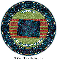 Label with map of colorado. Denim style. Vector eps10
