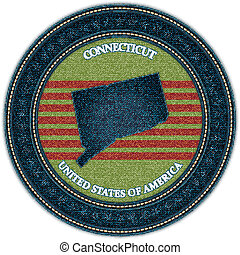 Label with map of connecticut. Denim style. Vector eps10