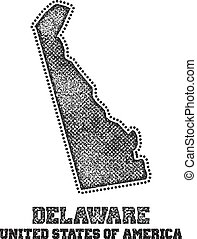 Label with map of delaware.