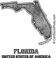 Label with map of florida.