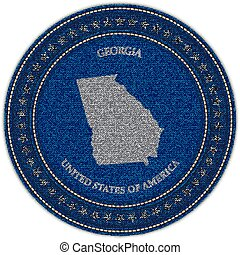 Clip Art Vector Of Georgia State Borderline Map Chalk Style - Georgia map label