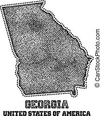 Label with map of georgia.