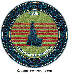 Label with map of idaho. Denim style. Vector eps10