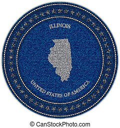 Label with map of illinois. Denim style.