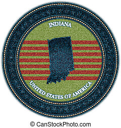 Label with map of indiana. Denim style. Vector eps10