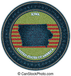 Label with map of iowa. Denim style. Vector eps10