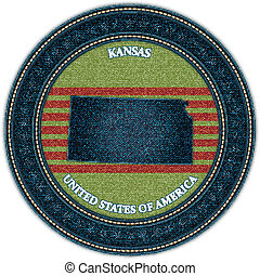 Label with map of kansas. Denim style. Vector eps10