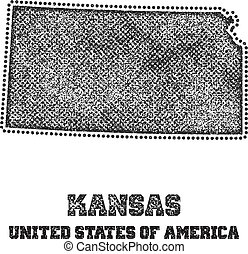 Label with map of kansas.