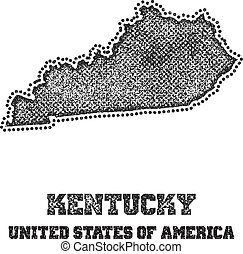 Label with map of kentucky.