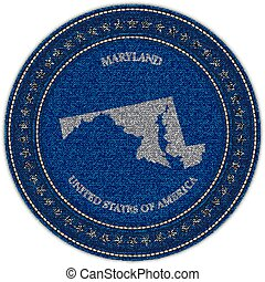 Label with map of maryland. Denim style.