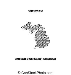Label with map of michigan.