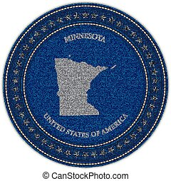 Label with map of minnesota. Denim style.