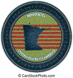 Label with map of minnesota. Denim style. Vector eps10
