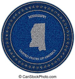 Label with map of mississippi. Denim style.