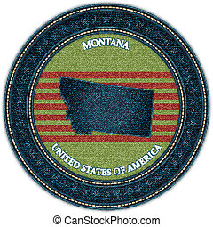 Label with map of montana. Denim style. Vector eps10