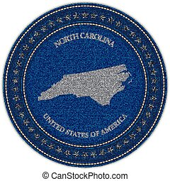 Label with map of north carolina. Denim style.