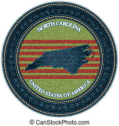 Label with map of north carolina. Denim style. Vector eps10