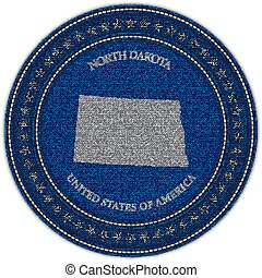 Label with map of north dakota. Denim style.