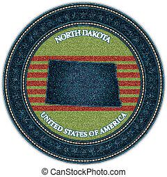Label with map of north dakota. Denim style. Vector eps10