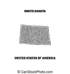 Label with map of north dakota.