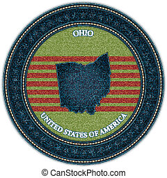 Label with map of ohio. Denim style. Vector eps10