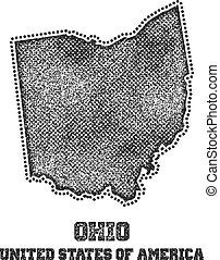 Label with map of ohio.