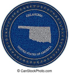 Label with map of oklahoma. Denim style.