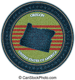 Label with map of oregon. Denim style. Vector eps10