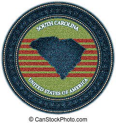 Label with map of south carolina. Denim style. Vector eps10