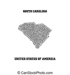 Label with map of south carolina.
